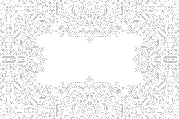 Monocromático bonito para a página do livro de colorir adulto com borda linear abstrata e espaço de cópia em branco