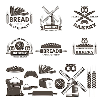 Monocromático conjunto de rótulos para loja de padaria.