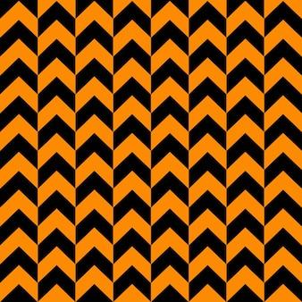 Monocromático de padrão sem costura shevron nas cores preto e laranja formas geométricas em zigue-zague elegantes