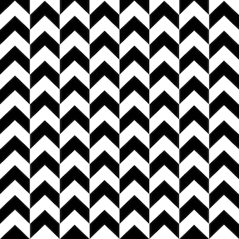 Monocromático de padrão sem emenda shevron nas cores preto e brancos. formas geométricas em zigue-zague elegantes na ilustração plana de moda. projeto de textura abstrata para papel de parede, têxteis, embalagem