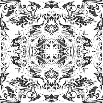 Monocromático espelhado desenhado à mão ebru papel marmorizado pintura líquida arte decoração textura fundo padrão sem emenda