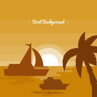 Monocromático, fundo, palma, árvore, barcos