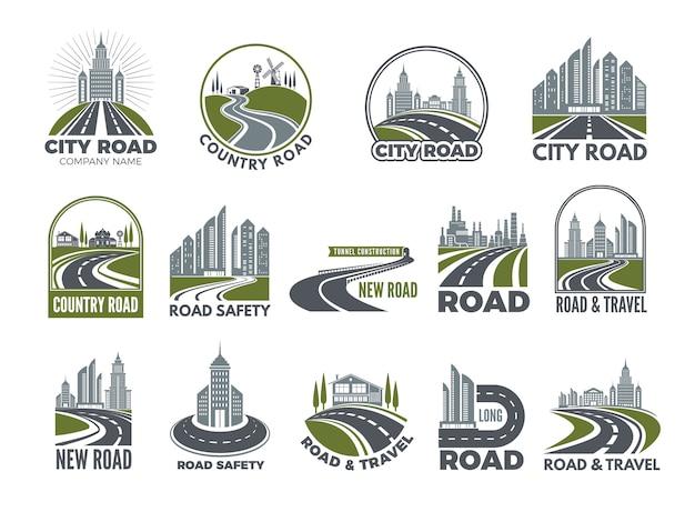 Monocromático grande conjunto de logotipos modelo com estradas de asfalto