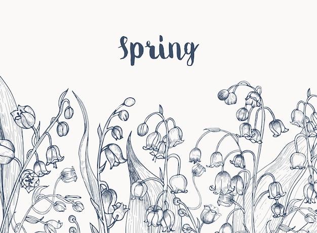 Monocromático horizontal com flores de lírio do vale desenhadas à mão com linhas de contorno em branco