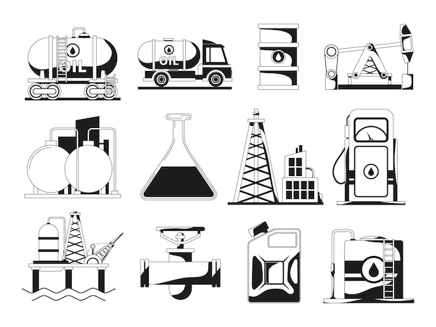 Monocromático ícone preto para indústria petrolífera