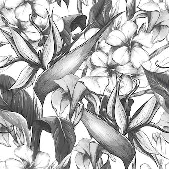 Monocromático padrão sem emenda com flores exóticas