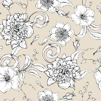 Monocromático padrão sem emenda com peônia florescendo