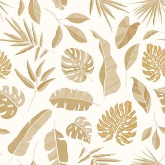 Monocromático padrão sem emenda com vegetação luxuriante da floresta tropical.