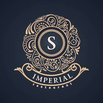 Monograma barroco floral caligráfico. emblema s