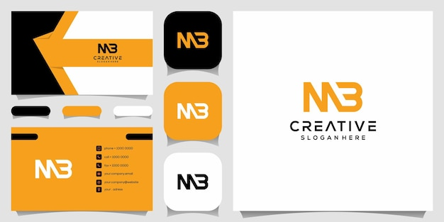 Monograma criativo, m combinado com modelo de design de logotipo b