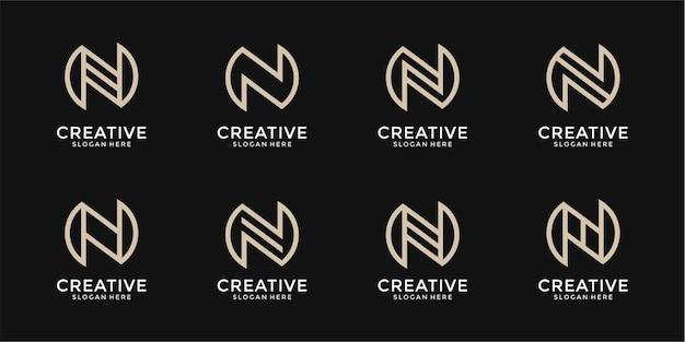 Monograma da coleção do logotipo da letra n