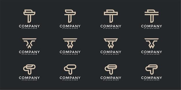 Monograma da coleção do logotipo da letra t