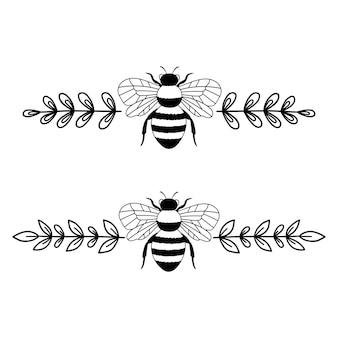 Monograma de abelha conjunto de divisores de texto borda floral desenho de contorno ilustração em linha