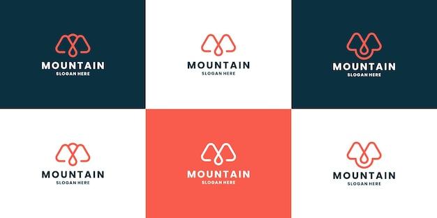 Monograma de arte de linha desenho de logotipo de montanha letra a, gota e montanha combinam