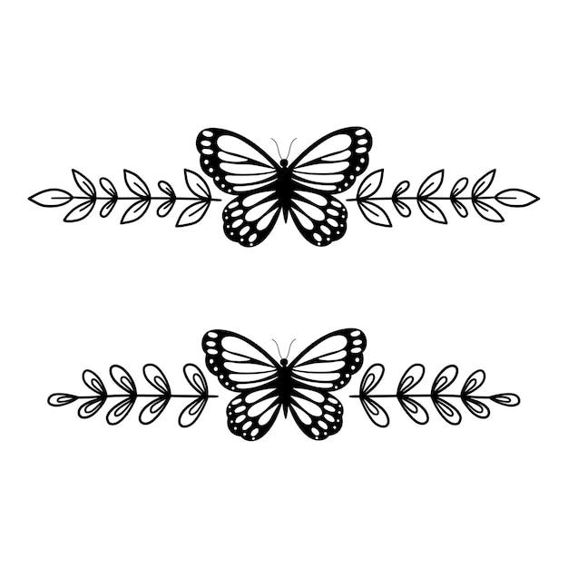 Monograma de borboleta conjunto de divisores de texto borda floral desenho de contorno ilustração em linha
