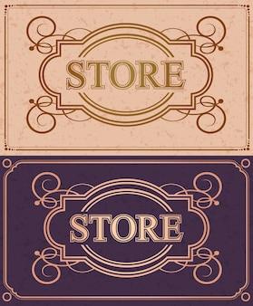 Monograma de caligrafia retro store flourish