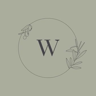 Monograma de casamento e logotipo com ramo de oliveira no estilo moderno e mínimo de forro. quadro floral redondo de vetor com a letra w para cartões de convite, salve a data. ilustração botânica rústica