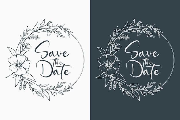 Monograma de casamento floral mínimo e moldura de casamento