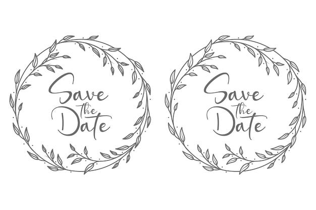 Monograma de emblemas de casamento floral desenhado à mão com ramos