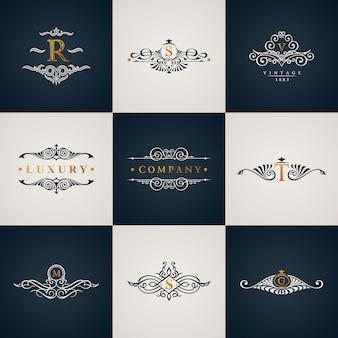 Monograma de logotipo de luxo conjunto com elementos de vintage royal floresce