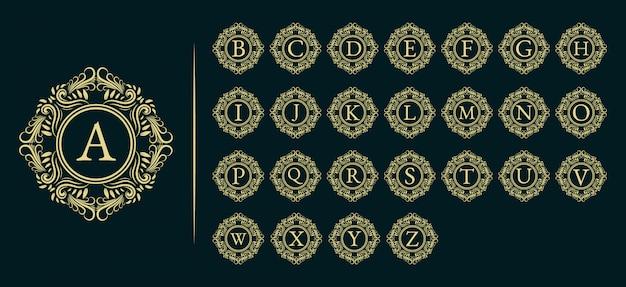 Monograma de logotipo de luxo inicial, moldura real ornamental.