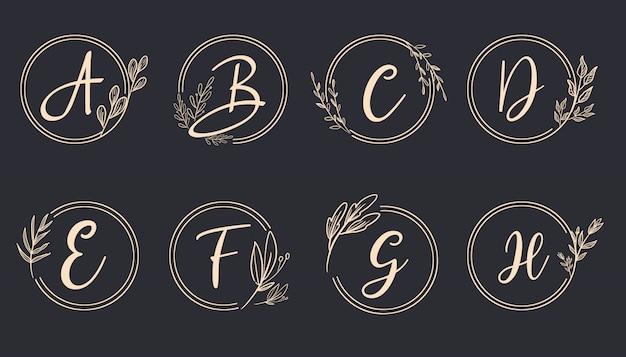 Monograma de logotipo feminino alfabeto definir coleção