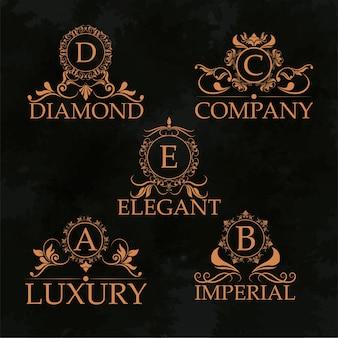 Monograma de luxo monograma elegante coleção caligráfica dourada