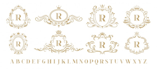 Monograma de luxo. monogramas decorativos ornamentais vintage, emblema de grinalda dourada luxo retrô e conjunto de ícones de quadro de casamento heráldico barroco