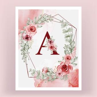 Monograma decorativo um alfabeto vintage floral
