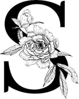 Monograma do casamento do alfabeto da letra s. botanical Vetor Premium