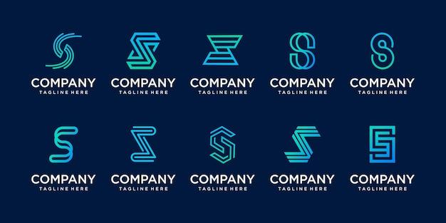 Monograma do logotipo da letra s do estilo do minimalismo da coleção.
