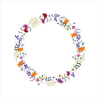 Monograma do logotipo do louro desenhado em aquarela grinalda floral