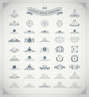 Monograma e conjunto de logotipo real de luxo