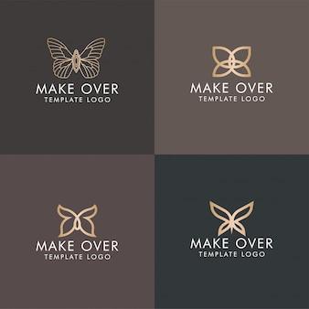 Monograma elegante do ouro do logotipo minimalista da borboleta editável