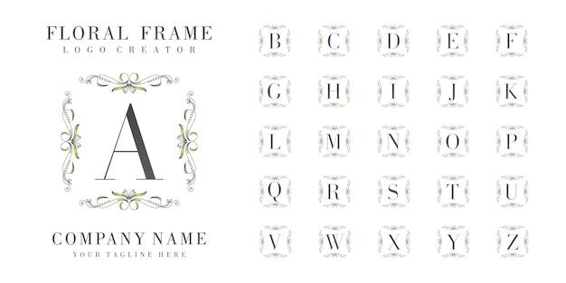 Monograma inicial do logotipo com ornamentos florais