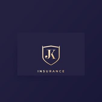 Monograma jk, logotipo de vetor de letras em um cartão
