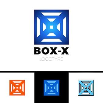 Monograma linear do logotipo da letra x em caixa ou cubo.