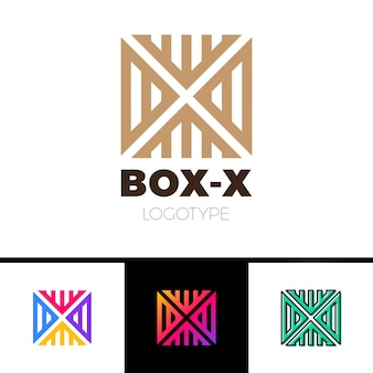 Monograma linear do logotipo da letra x em linha caixa ou cubo