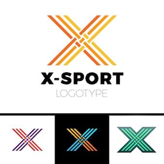 Monograma linear do logotipo da letra x