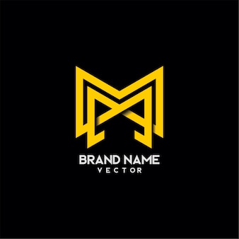 Monograma m letra tipografia logo design