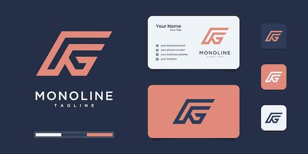 Monograma minimalista do logotipo feg ou fg, alfabeto, letra, inspiração de design inicial