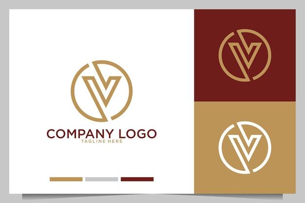 Monograma moderno com design de logotipo da letra v