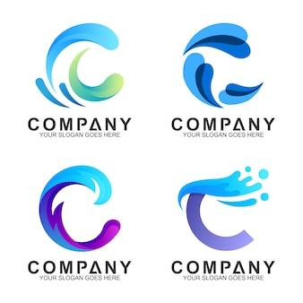 Monograma onda abstrata / letra c conjunto de logotipo