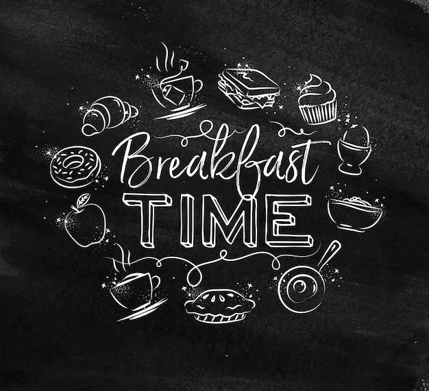 Monograma tempo de café da manhã giz