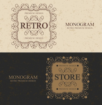 Monograma vintage da loja borda com design caligráfico luxuoso