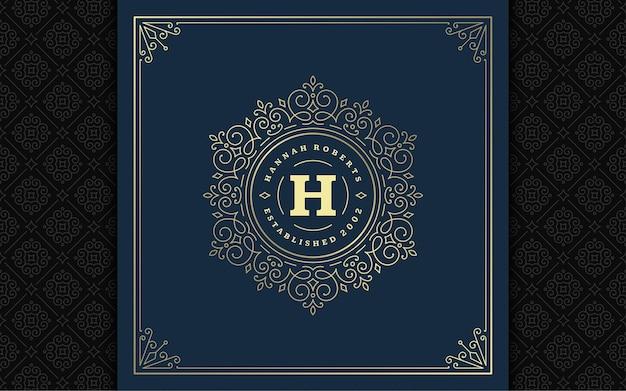 Monograma vintage logotipo elegante floreia linha arte ornamentos graciosos estilo vitoriano modelo de design. boutique real heráldica com crista caligráfica clássica de luxo, placa de restaurante e moldura ornamentada