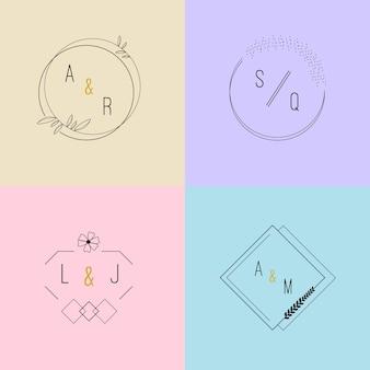 Monogramas de casamento adorável em pacote de cores pastel