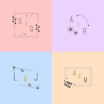Monogramas de casamento colorido em tons pastel