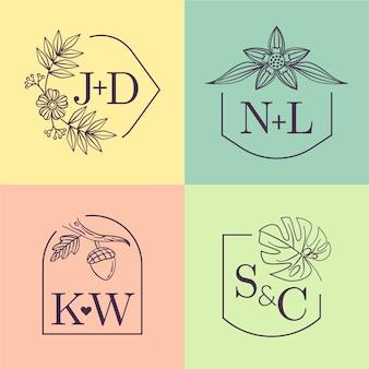 Monogramas de casamento colorido