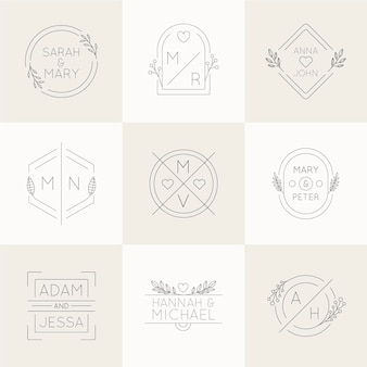 Monogramas de casamento de design plano linear